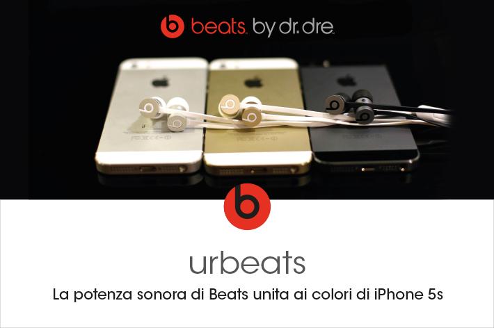 La potenza sonora di Beats unita ai colori di iPhone 5s.