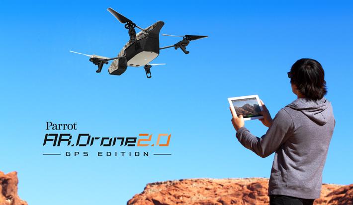 """Parrot presenta ufficialmente una nuova edizione del quadricottero: """"AR.Drone 2.0 GPS Edition""""che integra nella confezione """"Flight Recorder"""", il modulo GPS che si inserisce nella porta USB presente sotto la scocca del Drone e permette di geolocalizzare il volo, impostare una determinata destinazione sulla mappa,migliorare la stabilità del Drone e successivamente riguardare il proprio volo in 3D su AR.Drone Academy."""