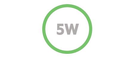 RICARICA FINO A 5 W Ricarica da 0 a 100 tanto rapidamente come un caricabatterie da 5 watt