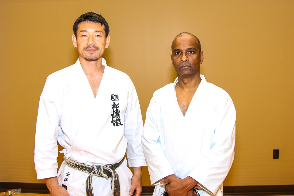Kancho Nobuaki Kanazawa and Sensei Nathan Balakrishnan at the Golden Tiger seminar on 7/2/13.