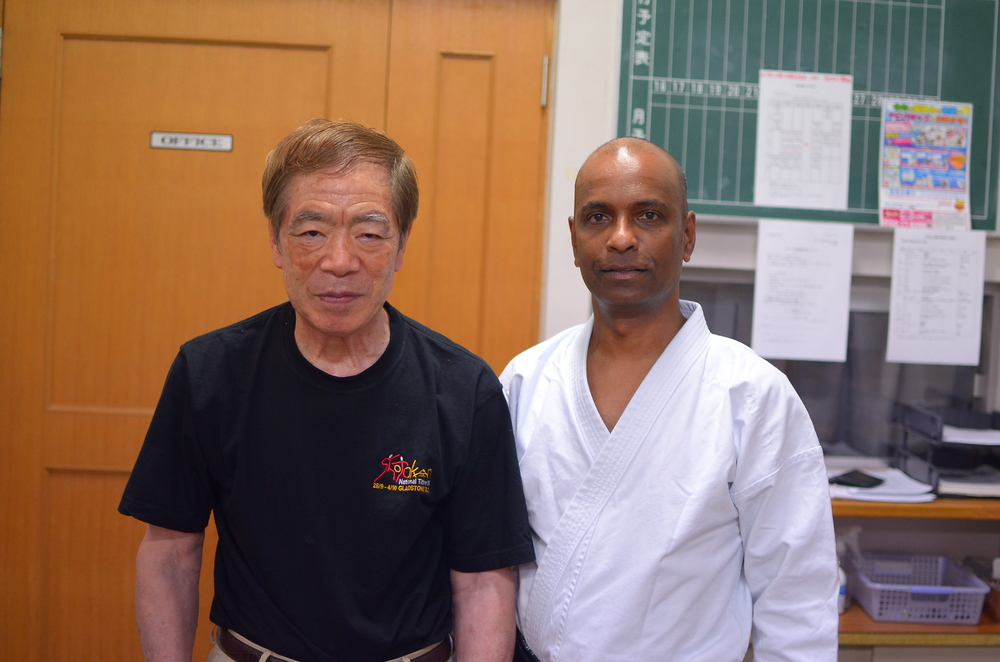 Hirokazu Kanazawa, founder of SKIF, with Sensei Nathan at the Honbu Dojo. July 2013.