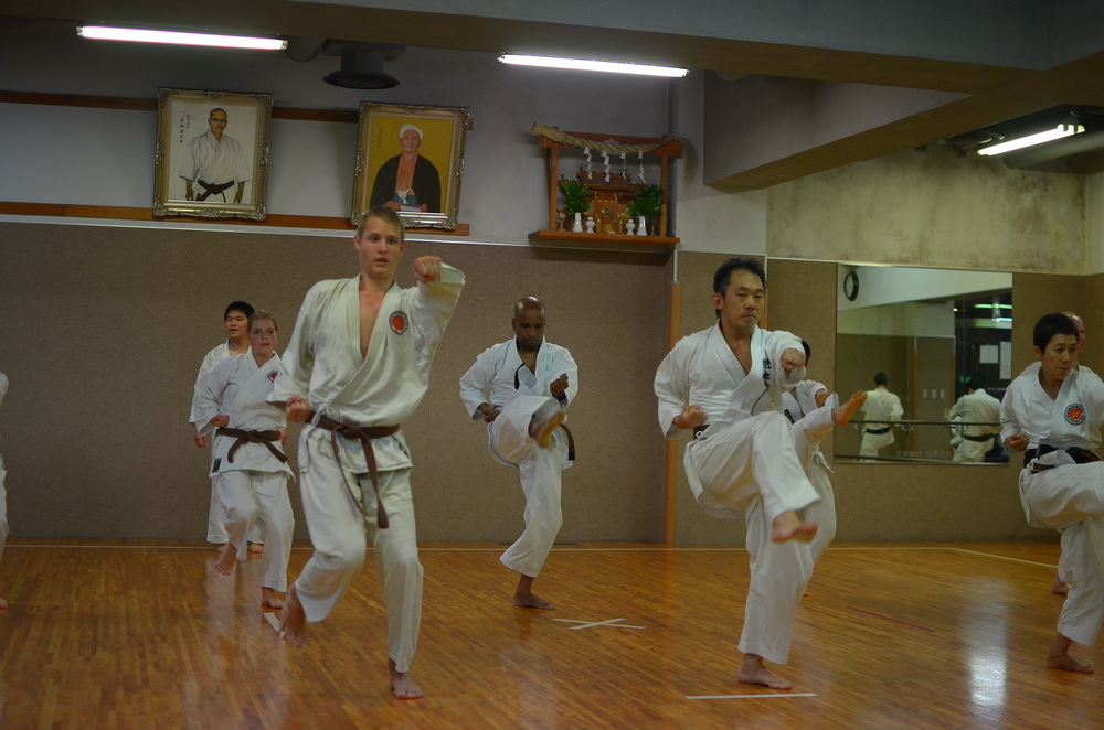 Sensei Nathan training during his visit to the Honbu Dojo in Tokyo, Japan.  July 2013.