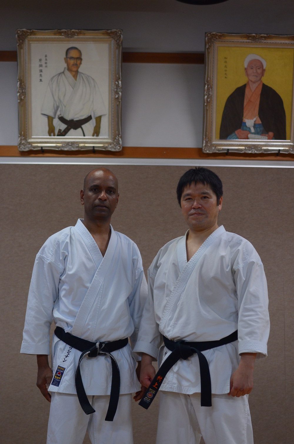 Sensei Murakami with Sensei Nathan at the Honbu Dojo.  July 2013.
