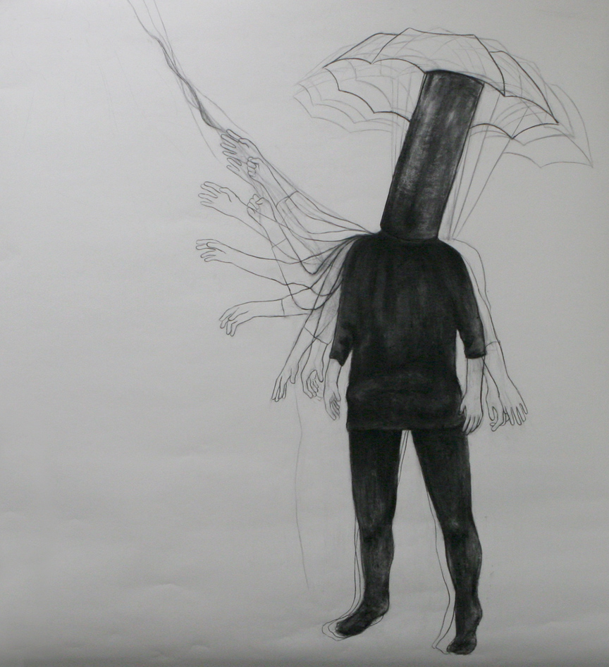 "Drawn to the stor / 72"" x 85"" / Charcoal on pape"