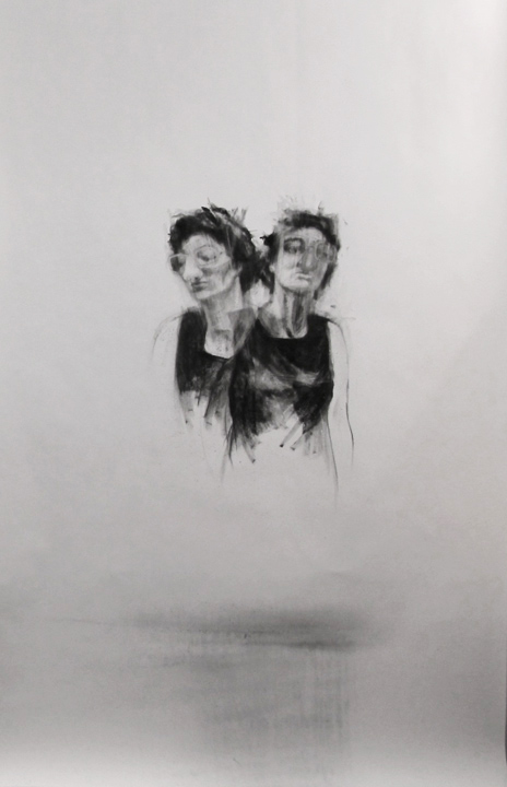 "Doppelgagner / 95"" x 60"" / Charcoal on paper"
