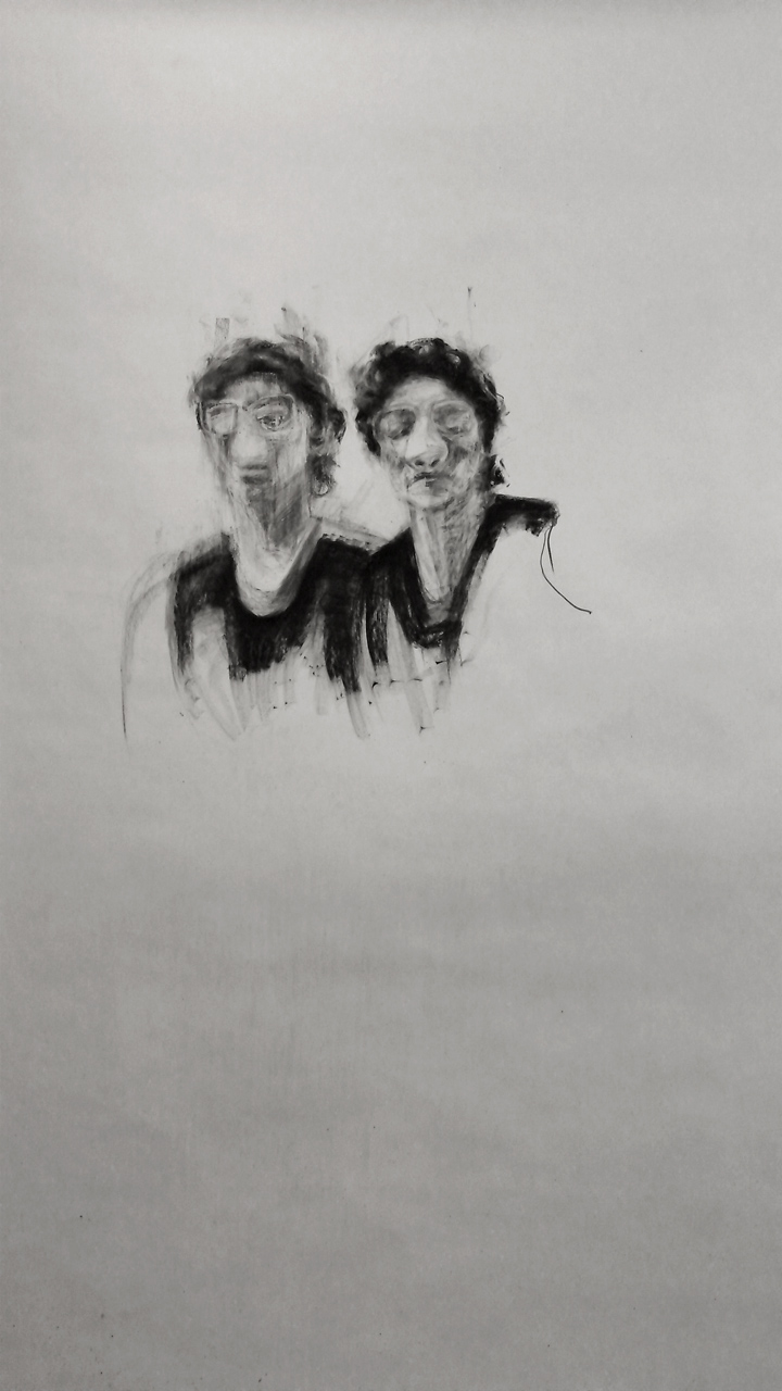 "Two sides of her / 95"" x 60"" / Charcoal on paper"