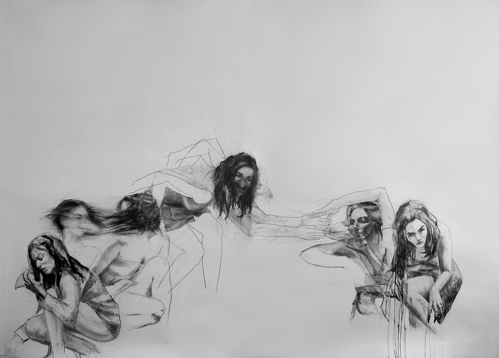 "And then she lost it / 78"" x 96"" / Oil pastel & charcoal on paper"