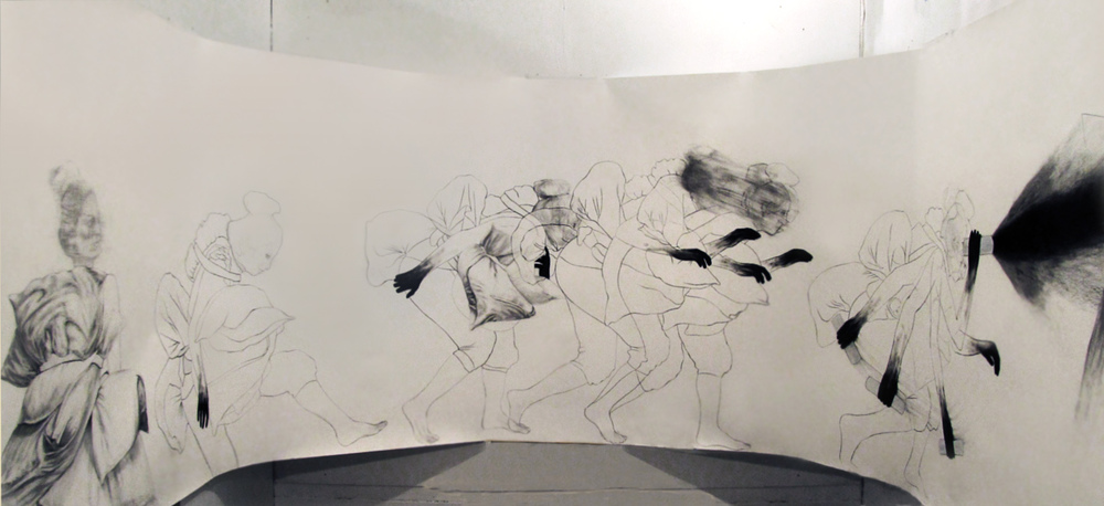 "Hunting for meaning (installation shot) / 60"" x 168"" / Charcoal, pencil & oil pastel on paper"