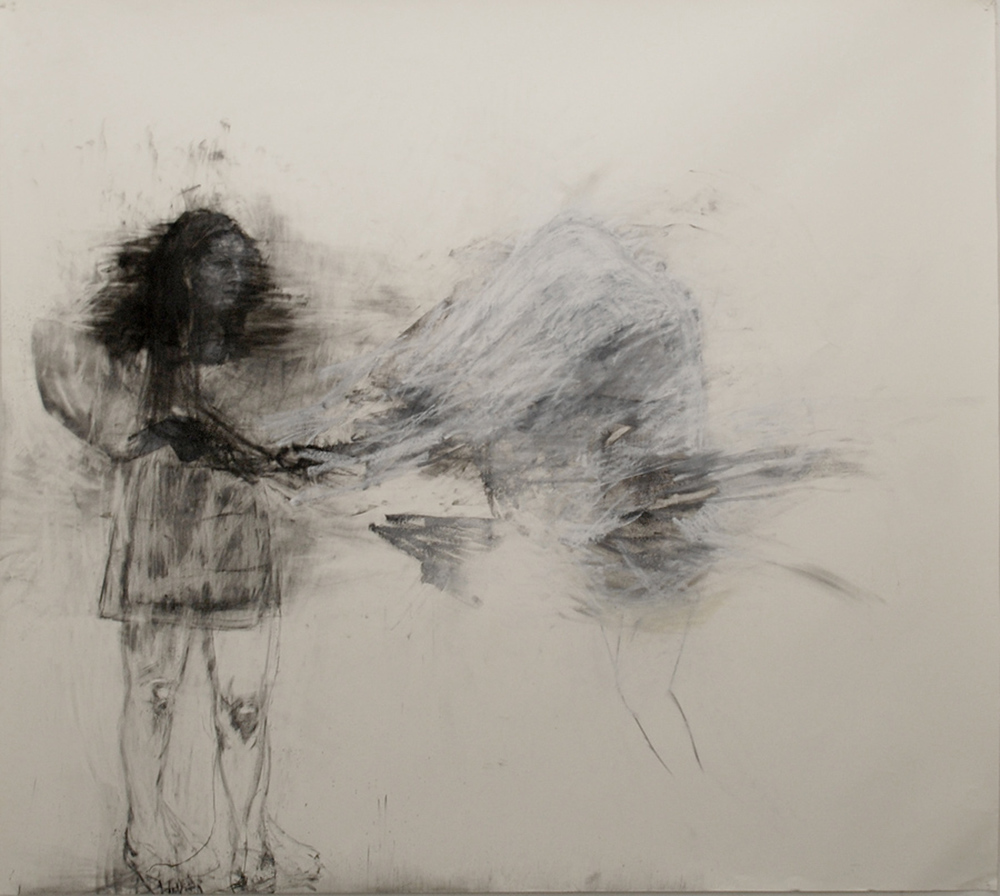 "Equilibrium / 84"" x 90"" / Oil pastel & charcoal on paper"