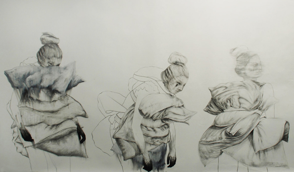 "Hunting for meaning (detail) / 60"" x 168"" / Charcoal, pencil & oil pastel on paper"