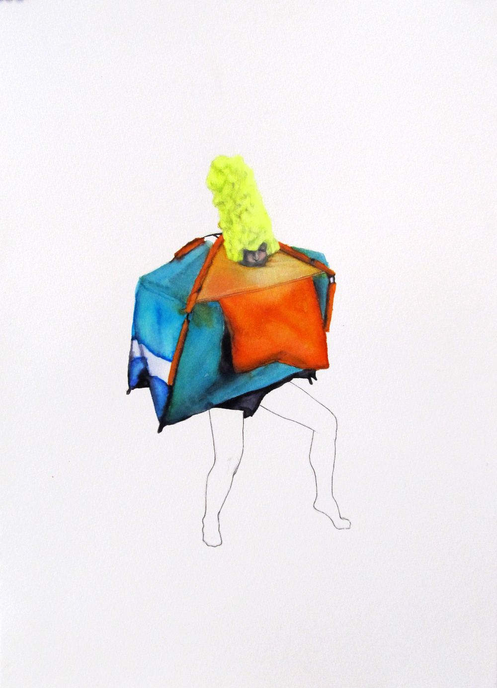 The Tent Lady (she's an insect in the world) / 24 x 34 cm / Colored pencil & ink on paper SOLD