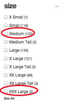 Men's sizes