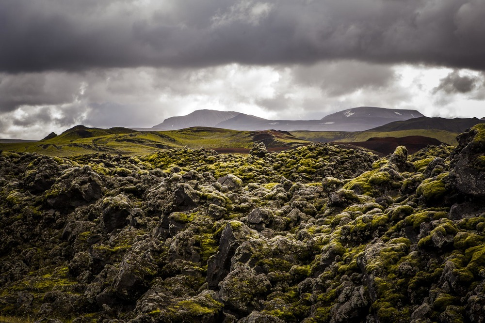 Paysage Fjallabak champ de lave, Suðurland, Islande