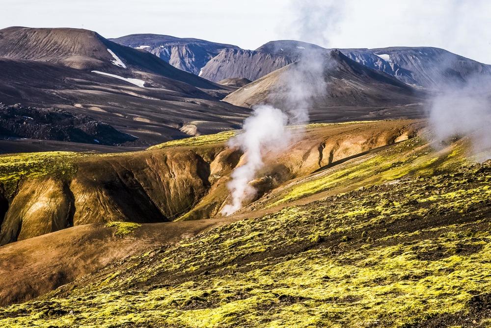 Paysage Landmannalaugar, fumerolle, Suðurland, Islande