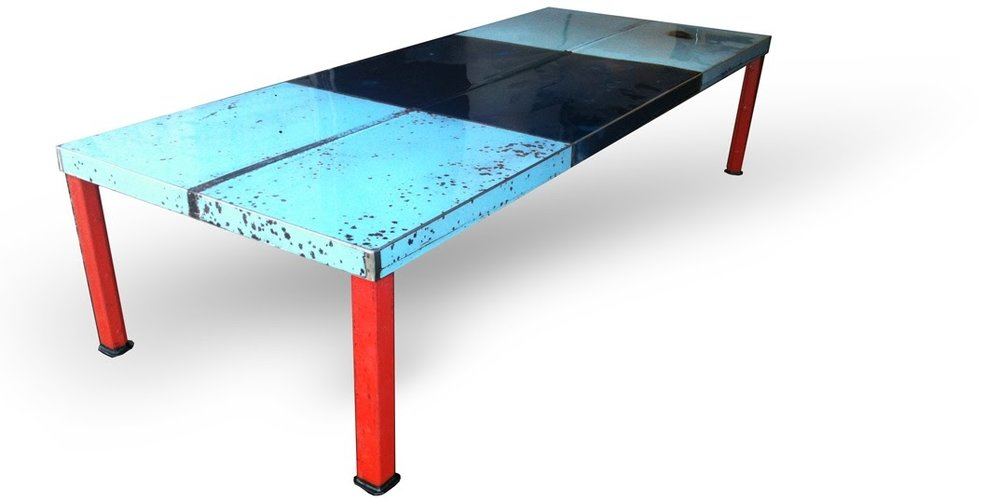 industrial modern contemporary steel metal recycled reclaimed repurposed conference table