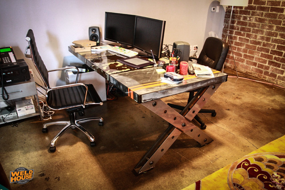Weld-house-X-leg-industrial-desk