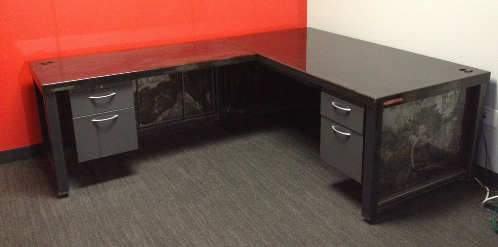 Weld House Tanker Desk built and installed at TMZ Studios, Harvey Levin's desk.