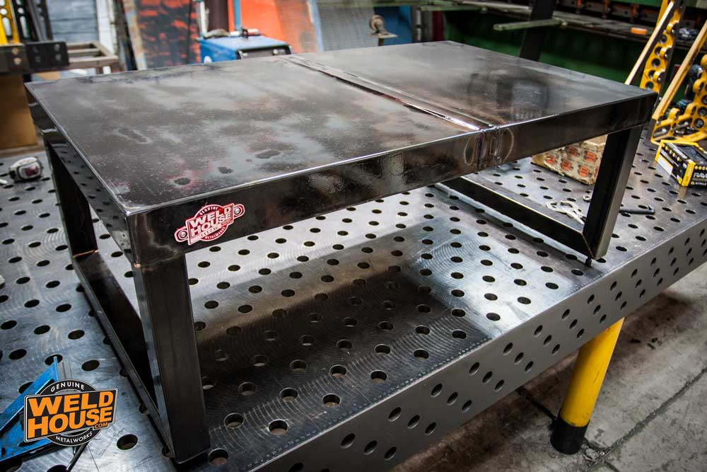 recycled steel metal coffee table