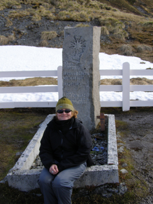 Ernest Shackleton's grave, after the whiskey ceremony
