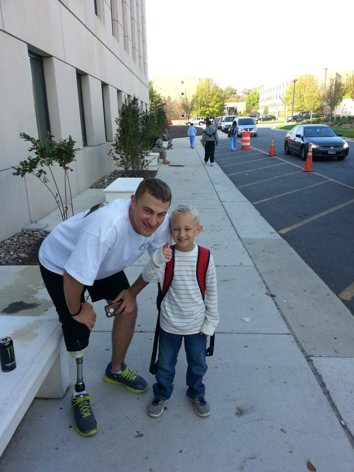 Lucas and Peyton at the bus stop at Walter Reed NMMC