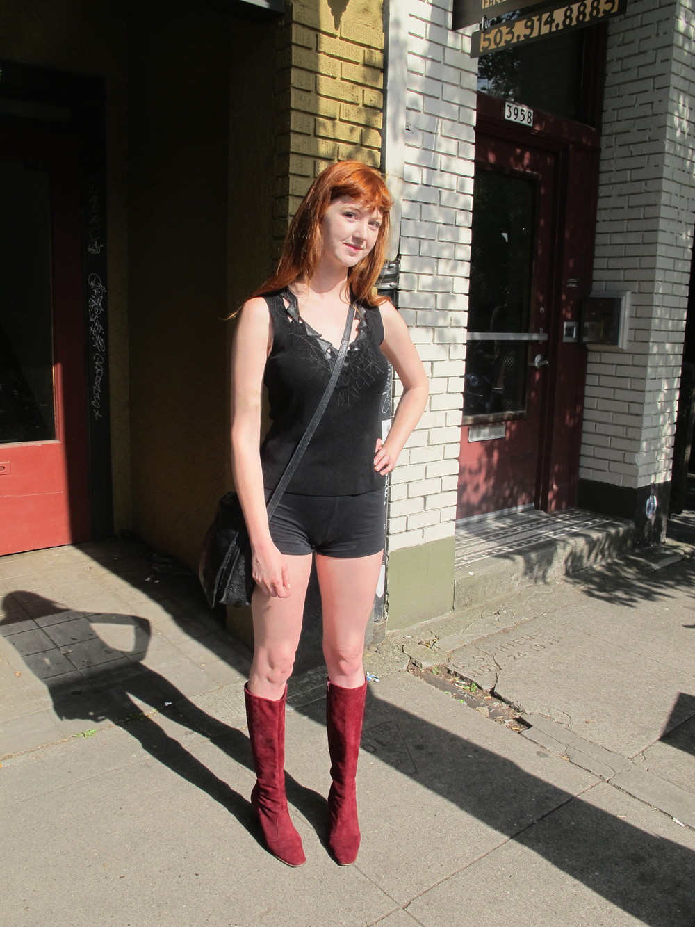 RED suede go-go boots are decidedly a go, and Madison of Las Vegas wears these to a T.