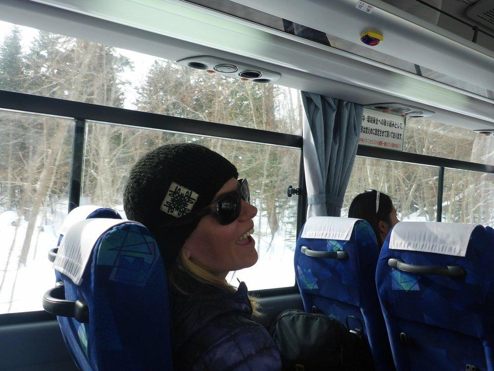 "On the bus to Niseko- ""It's Snowing!!!!"""