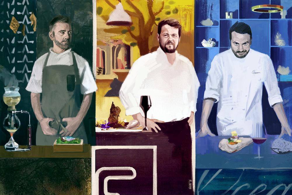 Loco chef Alexandre Silva, Feitoria chef João Rodrigues, Ocean chef Hans Neuner