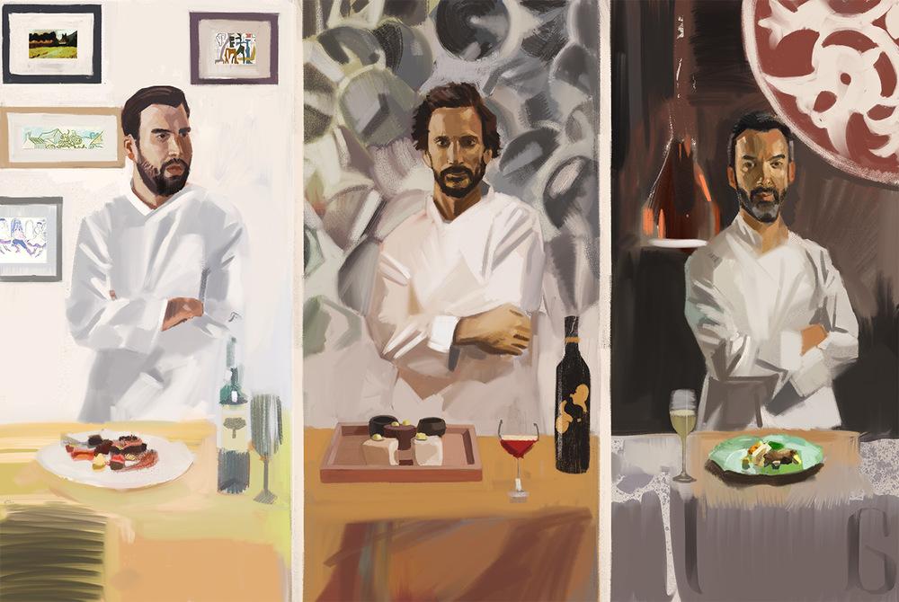 Herdade do Esporão chef Pedro Pena Bastos, Belcanto chef José Avillez, Alma chef Henrique Sá Pessoa
