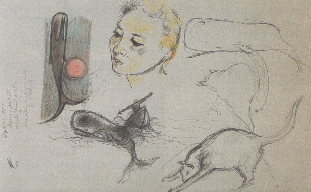Extracts from John Huston's sketchbook, 1956, the year he was making 'Moby Dick' (pencil and coloured pencil on paper)