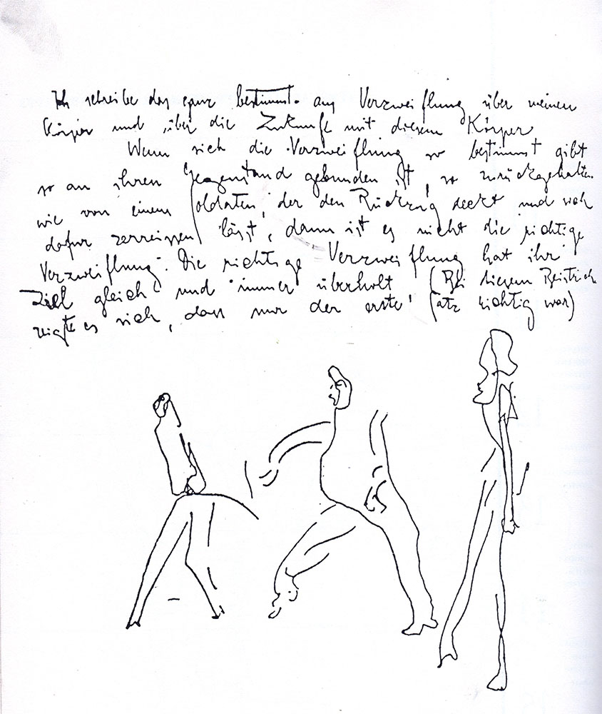 "Franz Kafka (1883-1924) made this sketch in his diary, in 1924: "" I write this very decidedly out of despair over my body and over a future with this body…"""