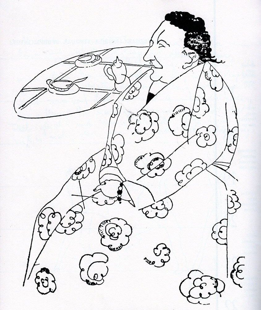 "Djuna Barnes (1892-1982) made this drawing of Gertrude Stein although the two writers did not get on. Of their first meeting Barnes later wrote:  ""D' you know what she said of me? Said I had beautiful legs. Now what does that have to do with anything?"""