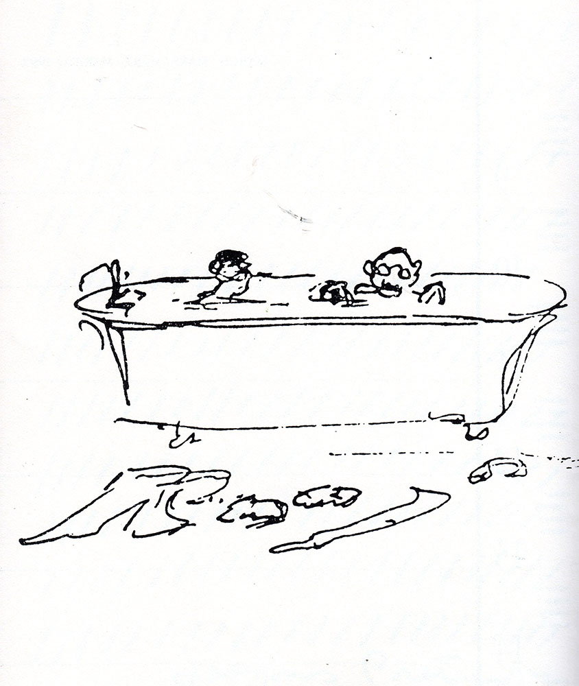 "Rudyard Kipling (1865-1936) illustrated and painted an enormous amount; this drawing (1910) accompanied a letter to his son William with an added P.S of  ""Wish you were here to share a bath with me"""