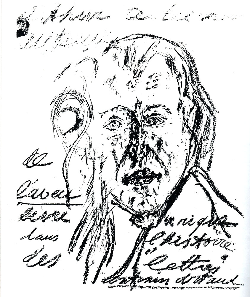 Antonin Artaud (1896-1948), poet, actor, surrealist, artist made this portrait of Arthur Adamov in 1947, shortly after the playwright helped Artaud gain release from Rodez, the asylum where he had been held for many years.