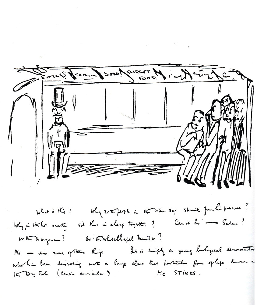 "H. G. Wells (1866-1946) kept a 'burlesque diary' in the form of humorous sketches; he made this 'picshua' in a letter to his brother in 1890:  ""What is this?. Why do the people in the tramcar shrink from his presence?… He STINKS."""
