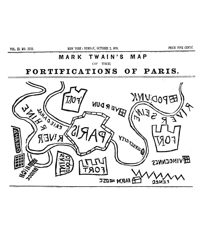 "Mark Twain (1835-1910) made a burlesque map of the fortifications of Paris. Published in the ""New York Herald"" of Sunday, October 2, 1870. At this time the siege of Paris during the Franco-Prussian war had just begun and newspapers the world over were filled with maps of Paris as is journalistic practice."