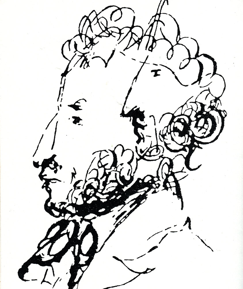 Nikolai Godol (1809-1852) originally intended to be a painter and often illustrated the covers of his own books. This drawing of Pushkin was done in the 1830s.