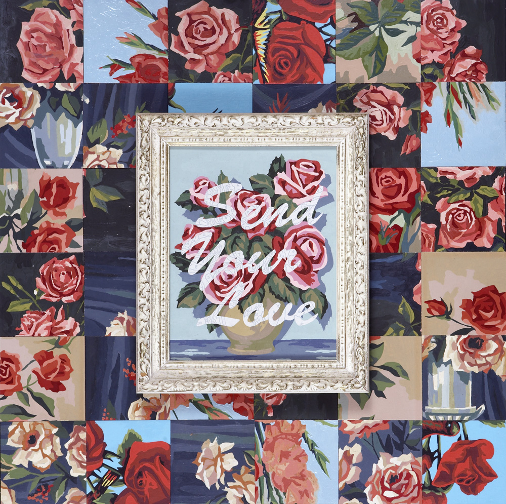 "Trey Speegle,  SEND YOUR LOVE, 2007, 24 X 24"", vintage paint by number ""tiles"", acrylic on vintage paint by number panel in vintage frame, private collection"