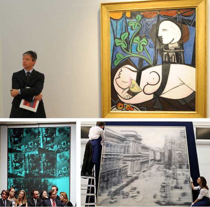 "Pablo Picasso, ""Nude, Green Leaves and Bust,"" 1932 hammered at $106,500,000 in 2010. Andy Warhol, ""Green Car Crash"", 1963, sold for $71,720,000; Just this May, Gerhard Richter's 1968 painting Domplatz, Mailand sold for $37,000,000, an auction record for a living artist"