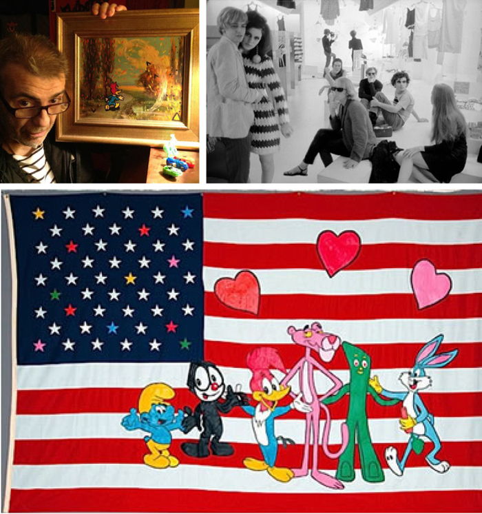 (Top right, recent photo from Cutrone's Facebook page, right, Rene Ricard, Susan Bottomly, Eric Emerson, Mary Woronov, Andy Warhol, Ronnie Cutrone, Paul Morrissey, and Edie Sedgwick. Bottom, a Cutrone painting features a cavalcade of his appropriated characters)