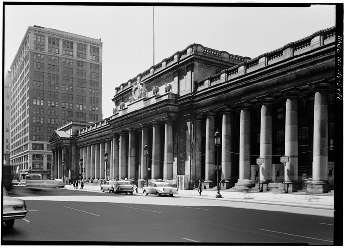 The old Pennsylvania Station (where Madison Square Garden is now)  designed by McKim, Mead, and White, it opened in 1910 and had an exterior surrounded by 84 Doric columns.