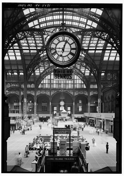 Penn Station's impressive train shed In the mid-1950s.