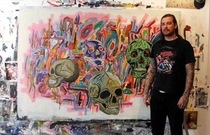 Wes Lang with familiar imagery in his Brooklyn studio