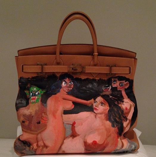 George Condo, 2013, paintedHermes Birkin bag