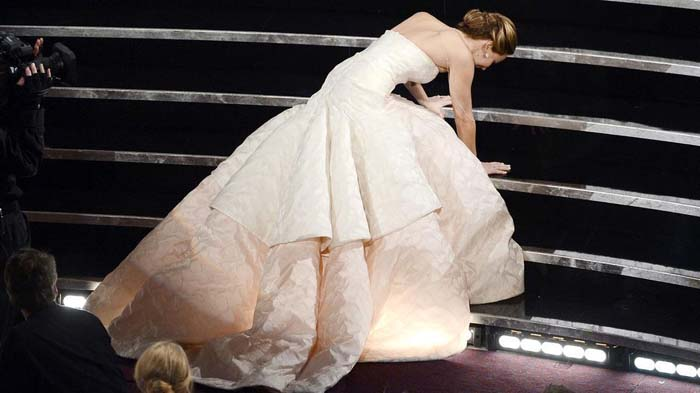 Jennifer Lawrence falling in Dior at the 2012 Oscars.