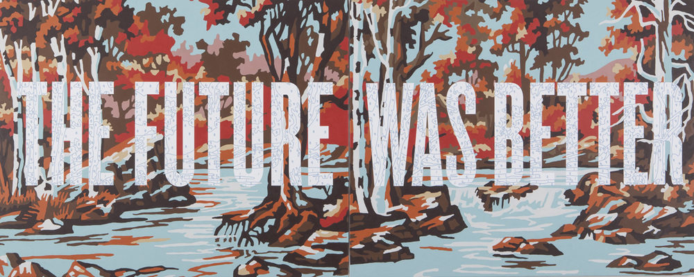 "Trey Speegle, The Future Was Better, 2012, 48 x 120"", diptych, archival pigment, house paint on canvas"