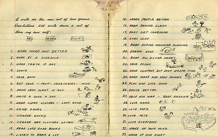 Woody Guthrie's journal entry from January 1, 1943