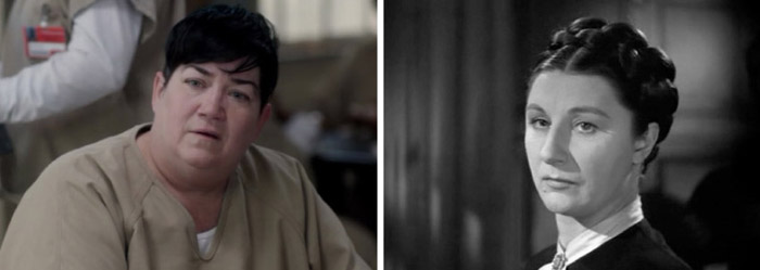 Le Delaria as Big Boo in Orange Is the New Black; Judith Anderson as Mrs. Danvers in Rebecca