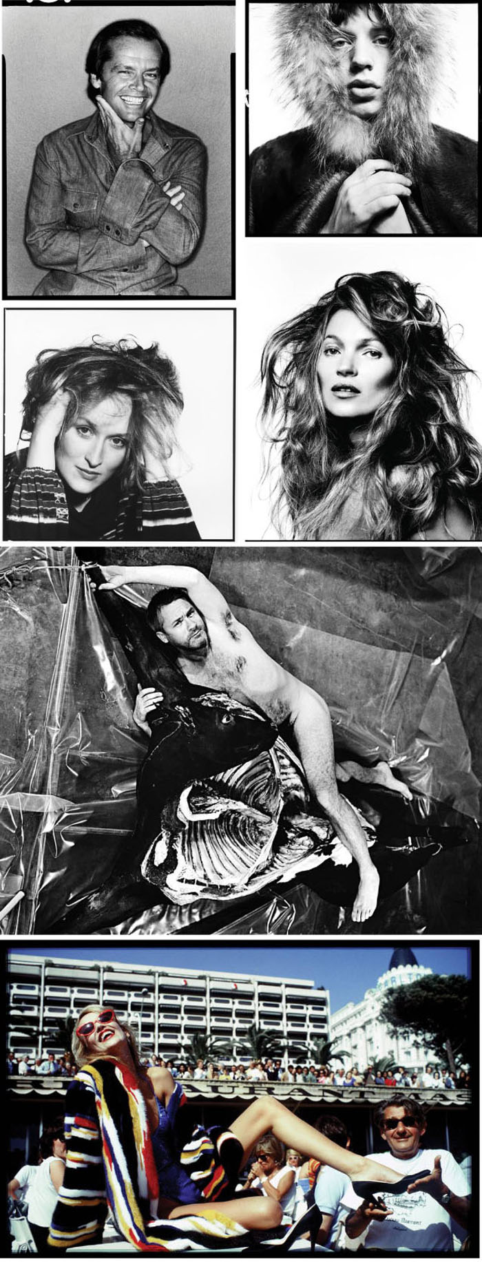 Jack Nicholson, 1978, Mick Jagger, 1964; Meryl Streep, 1980; Kate Moss, 2013; Damien Hirst, 2013; Jerry Hall with Helmut Newton, 1983.