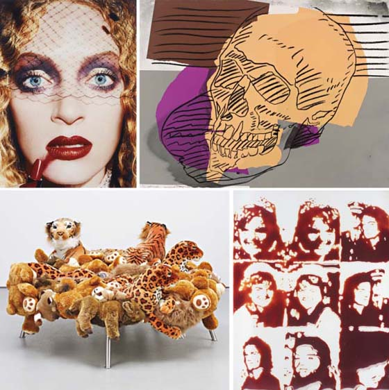 Top, left: David LaChapelle, Uma Thurman, 'Gossip',  1997; Andy Warhol, Skulls, 1976; Fernando and Humberto Campana, Cake Stool, 2008; Vik Muniz, Jackie (from Pictures of Chocolate), 2001