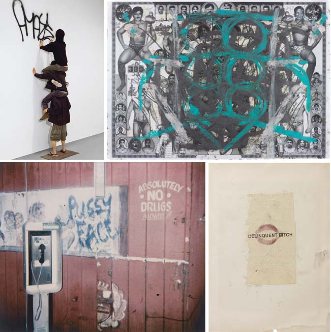 Top, left; Barry McGee, Untitled (Robots AMAZE), 2004; Oscar Murillo, Untitled, 2012; Dash Snow, Pussy Face, 2003; Dash Snow, Delinquent Bitch, 2006-2007